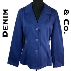 Denim & Co Blue Blazer Jacket Size M